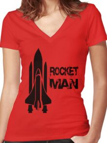 Rocket Man Women's Fitted V-Neck T-Shirt