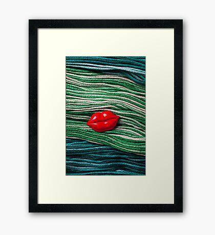 Red Lips On Yarn Framed Print