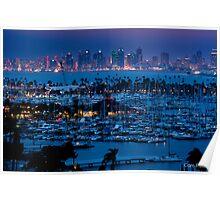San Diego Skyline w/ Marina Poster