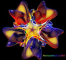 Tribal rainbow flower glow by pixwizart
