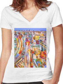 City rush Women's Fitted V-Neck T-Shirt
