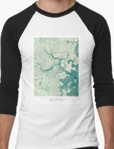 Boston Map Blue Vintage Men's Baseball ¾ T-Shirt