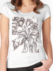 floral seamless pattern with hand drawn flowering crocus Women's Fitted Scoop T-Shirt