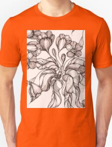 floral seamless pattern with hand drawn flowering crocus Unisex T-Shirt