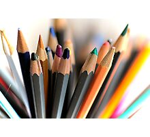 Fan of coloured pencils Photographic Print