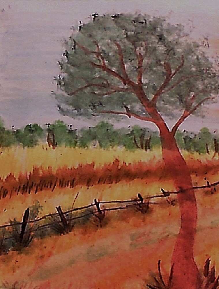 A peacefull scene over the valley, watercolor by Anna  Lewis, blind artist
