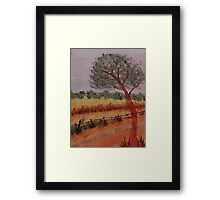 A peacefull scene over the valley, watercolor Framed Print