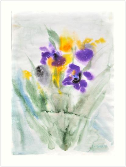 Irises in aqua by Stella  Shube As