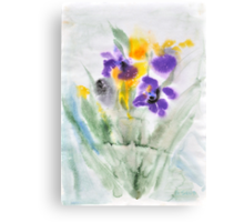 Irises in aqua Canvas Print