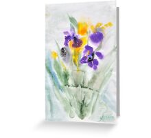 Irises in aqua Greeting Card