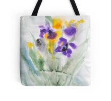 Irises in aqua Tote Bag
