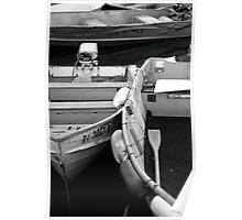 b&w skiffs at bay Poster