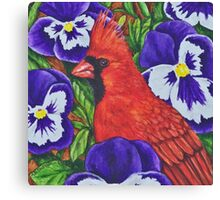 Red Bird Among The Pansies Canvas Print