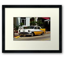 Miami Beach Classic Car with Watercolor Effect Framed Print