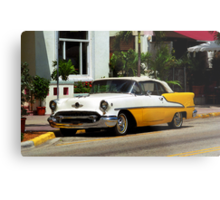 Miami Beach Classic Car with Watercolor Effect Metal Print