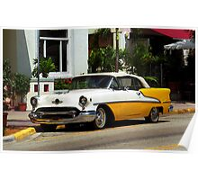 Miami Beach Classic Car with Watercolor Effect Poster
