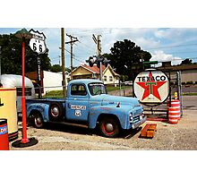 Route 66 - Gas Station with Watercolor Effect Photographic Print