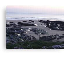 rock pools at dusk crooklets beach bude Canvas Print