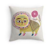 Folk Lion Throw Pillow