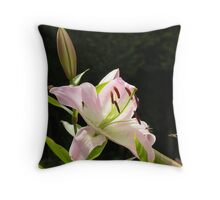 Hoverflies on a Stargazer Lily Throw Pillow