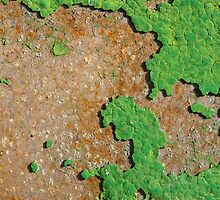 Old green paint on a rusty metal by bawanch