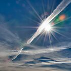 Contrails with Sunburst by Mike Hendren