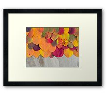 Colorful autumn leaves background on the stone Framed Print