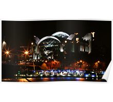 Embankment pier and Charing Cross by Night Poster
