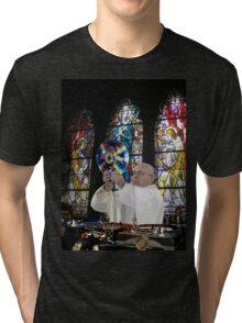 Catholic DJ Earth Pope Francis Turntable EDM Tri-blend T-Shirt