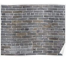 Grey colorful grunge brick wall background Poster