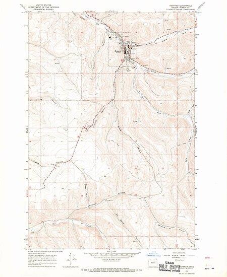 QuotUSGS Topo Map Oregon Heppner 280188 1968 24000quot Posters
