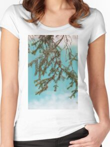 landscape of  blue lake in the mountain Women's Fitted Scoop T-Shirt