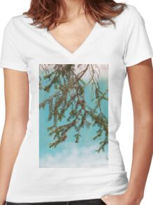landscape of  blue lake in the mountain Women's Fitted V-Neck T-Shirt