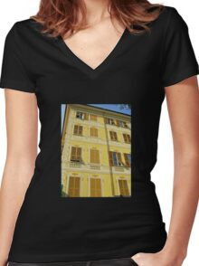 Yellow Facade - Santa Margherita Women's Fitted V-Neck T-Shirt