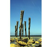 Kingcote's Ye Olde Jetty Posts @ Midnight (reduction in portrait minor) Photographic Print