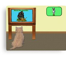 Watching telly. Canvas Print