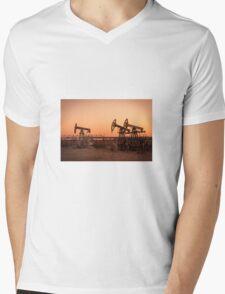Oil pumps on a oil field. Mens V-Neck T-Shirt