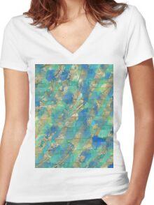 golden green blue mixed art - OneMandalaADay Women's Fitted V-Neck T-Shirt