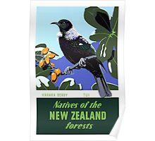 New Zealand Vintage Travel Poster Restored Poster
