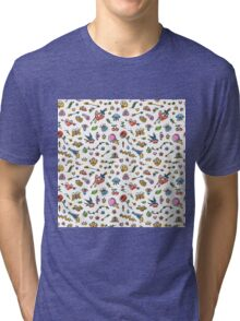 Colorful Funny Old School Tattoo Pattern Tri-blend T-Shirt