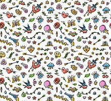 Colorful Funny Old School Tattoo Pattern by Voysla