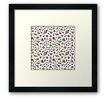 Colorful Funny Old School Tattoo Pattern Framed Print