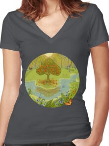 Magic forest Women's Fitted V-Neck T-Shirt