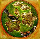 "Green Collagraph 1 by Belinda ""BillyLee"" NYE (Printmaker)"