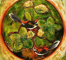 "Green Collagraph 2 by Belinda ""BillyLee"" NYE (Printmaker)"