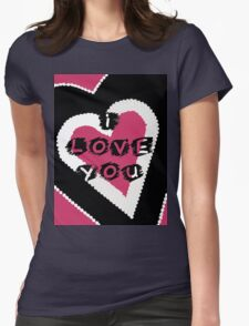 I Love You Heart in Pink and Black Womens Fitted T-Shirt