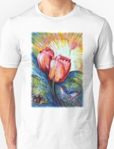 Tulips and butterfly Unisex T-Shirt