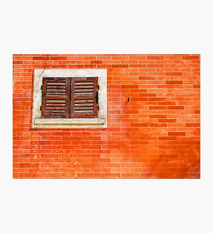 Window on orange wall Photographic Print