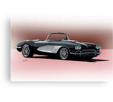 1958 Chevrolet Corvette 'Retro' Convertible Canvas Print