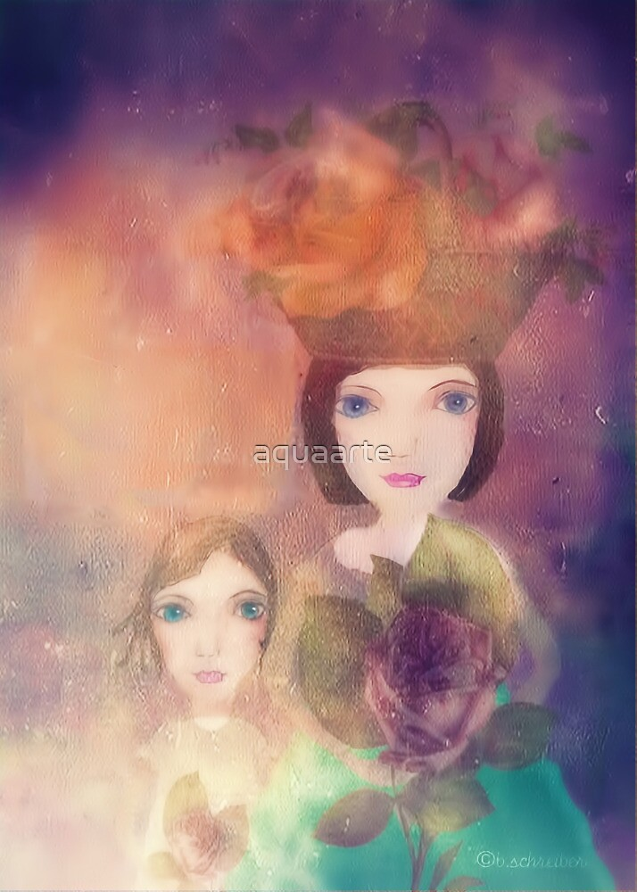 both mother and daughter love flowers by aquaarte